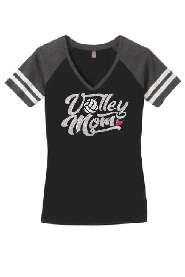glitter bling volleyball mom shirt short sleeve with stripes