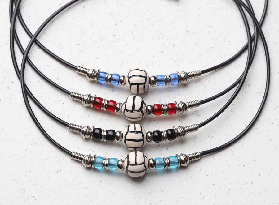 assorted team color volleyball necklaces
