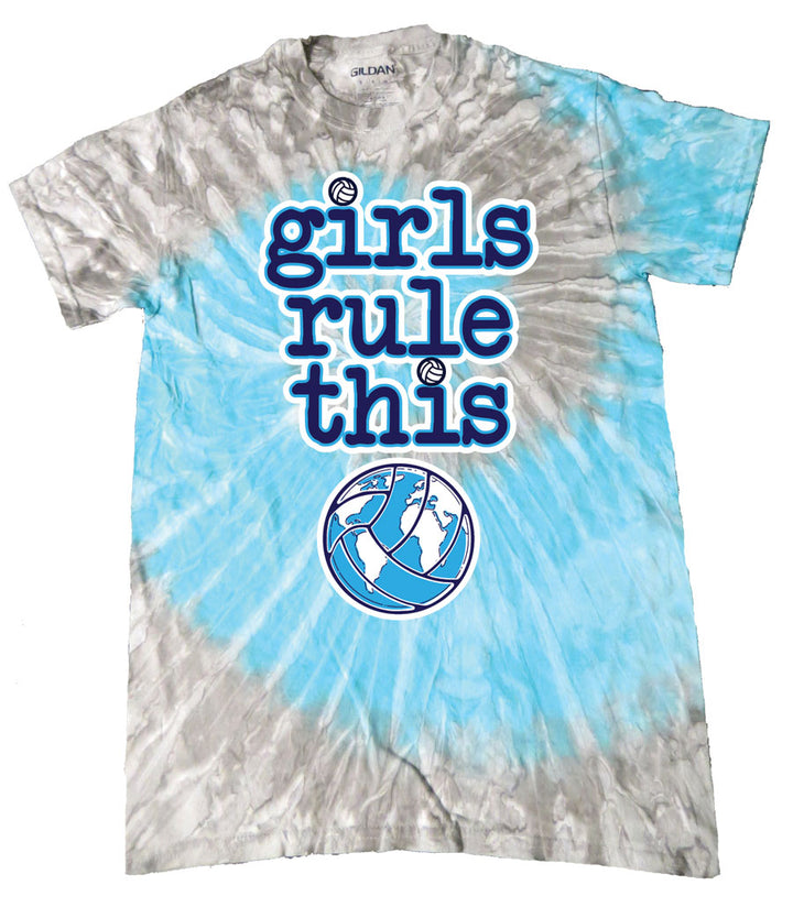 girls rule volleyball grey blue tie dye short sleeve tee
