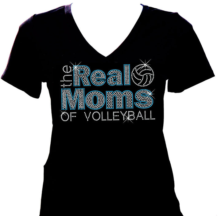 the real moms of volleyball v-neck short sleeve rhinestone shirt