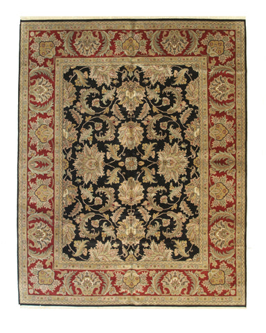 Black/red Hand-knotted Wool Traditional Jaipur Rug
