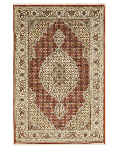 Hand-knotted Wool Red Traditional Oriental Mahi Tabriz Rug (4' x 6'1)