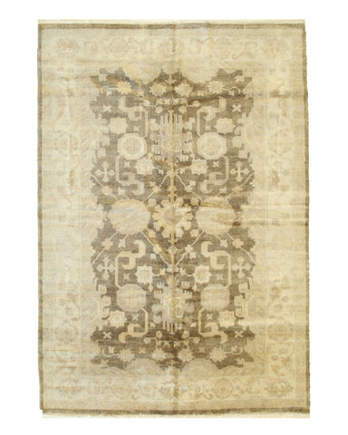 Brown Hand-knotted Wool Traditional OUSHAK Rug