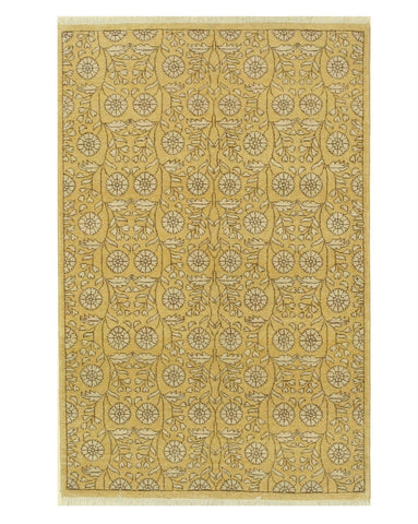 Hand-knotted Wool Gold Traditional Oriental Agra Rug (4' x 6'1)