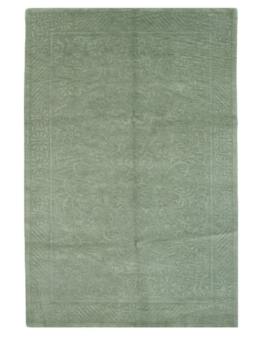 Hand-knotted Wool Green Transitional Geometric Indo-Nepalese Rug (6' x 9')