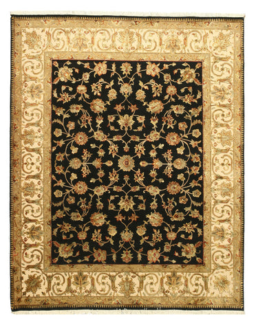 Hand-knotted Wool & Silk Black Traditional Oriental Flower Jaipur Rug