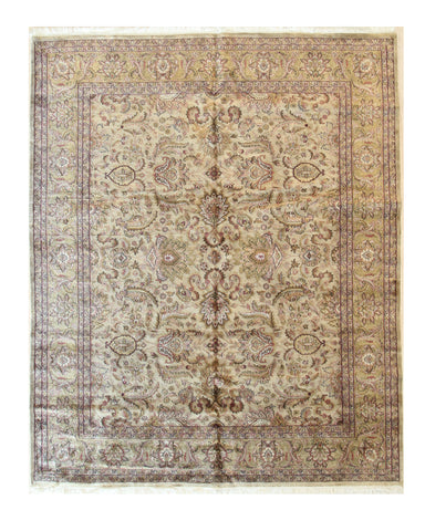 Beige/mint Hand-knotted Wool Traditional Sarouk Rug