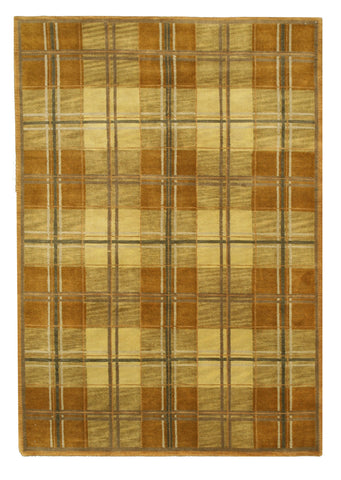 Hand-knotted Wool Brown Transitional Oriental Tartan Rug