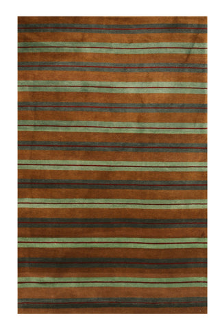 Hand-knotted Wool Brown Transitional Stripe Stripe Rug