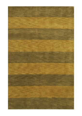 Hand-knotted Wool Green Transitional Stripe Stripe Rug