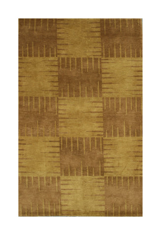 Hand-knotted Wool Brown Transitional Abstract Nepalese Squares Rug