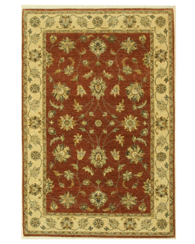 Hand-knotted Wool Brown Traditional Oriental Agra Rug (4'1 x 6'1)