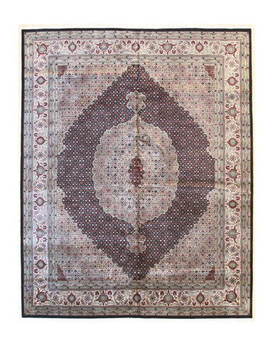 Black/ivory Hand-knotted Wool Traditional Mahi Rug