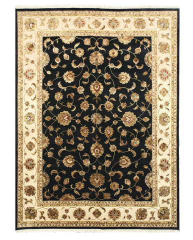 Hand-knotted Wool & Silk Black Traditional Oriental Jaipur Rug (9' x 12'2)