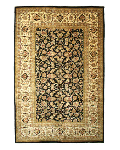 Hand-knotted New Zealand Wool Black Traditional Oriental Sarouk Rug (12' x 18'5)