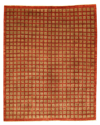 Hand-knotted Wool Red Contemporary Abstract Boxes Rug