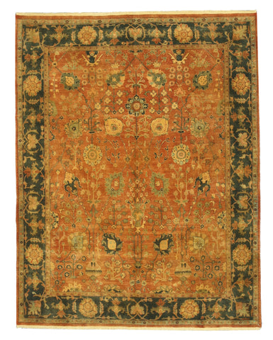 Hand-knotted Wool Rust Traditional Oriental Jaipur Rug (7'10 x 10'2)