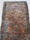 Orange/navy Hand-knotted Wool Traditional Oriental Sarouk Rug