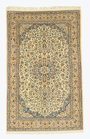 Hand-knotted Wool & Silk Ivory Traditional Oriental Naiin Rug