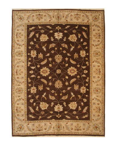 Brown Traditional Agra Rug, 10'1 x 13'7
