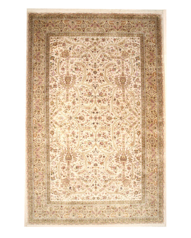 Hand-knotted Wool Ivory Traditional Oriental Tabriz Rug