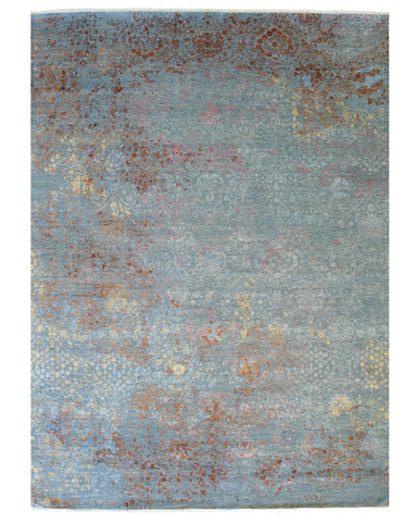 Hand-knotted Wool Blue Contemporary Abstract Galaxy Rug