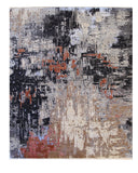 Hand-knotted Wool Black Contemporary Abstract Galaxy Rug