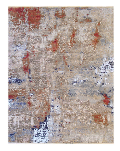 Hand-knotted Wool Beige Contemporary Abstract Galaxy Rug