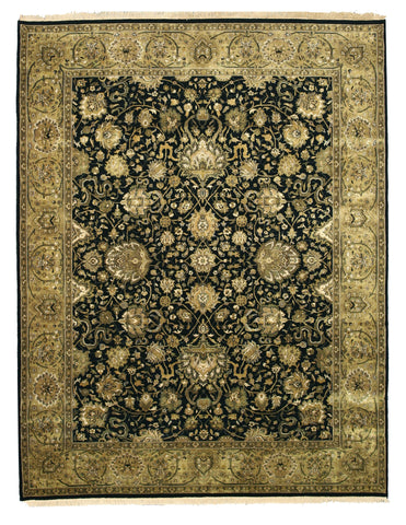 Hand-knotted New Zealand Wool Black Traditional Oriental Tabriz Rug (7'10 x 10')