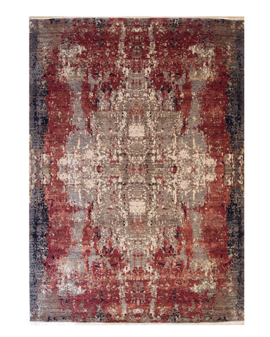 Hand-knotted Wool Red Contemporary Abstract Galaxy Rug
