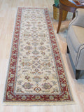 Ivory/red Hand-knotted Wool Traditional Agra Rug