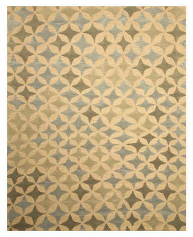 Hand-tufted Wool Beige Transitional Abstract Star Rug