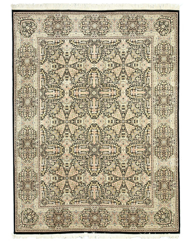 Hand-knotted Wool Black Transitional Oriental Pak-Modern Rug (9'1 x 12'4)