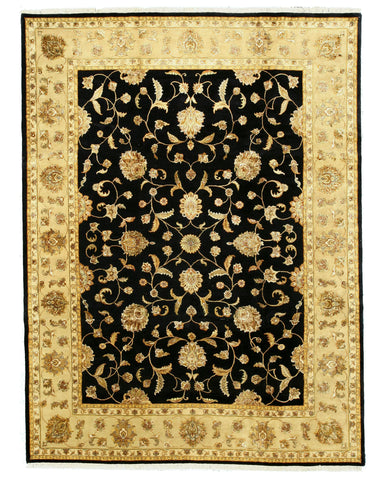 Hand-knotted Wool & Silk Black Traditional Oriental Jaipur Rug (9' x 12')