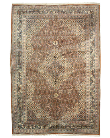 Hand-knotted Wool Brown Traditional Oriental Mahi Tabriz Rug (11'2 x 16'1)