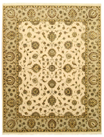 Hand-knotted Wool & Silk Beige Traditional Oriental Flower Jaipur Rug