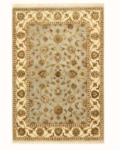 Hand-knotted Wool & Silk Gray Traditional Oriental Jaipur-Silk flower Rug (4'2 x 6'1)