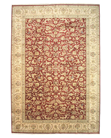 Hand-knotted Wool Red Traditional Oriental Jaipur Rug (12'5 x 18'3)