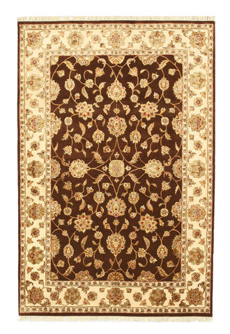 Hand-knotted Wool & Silk Brown Traditional Oriental Flower Jaipur Rug