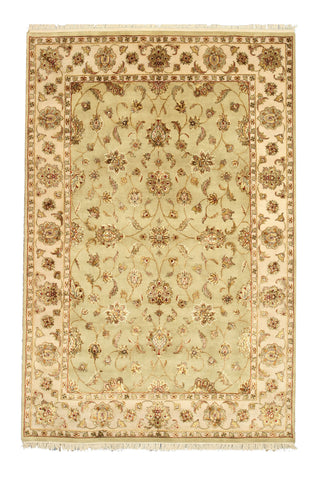Hand-knotted Wool & Silk Green Traditional Oriental Flower Jaipur Rug