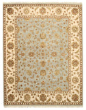 Hand-knotted Wool & Silk Blue Traditional Oriental Flower Jaipur Rug
