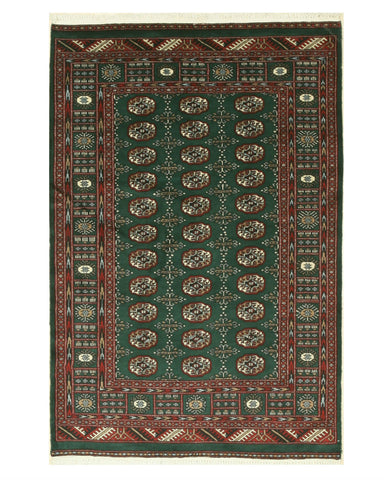 Hand-knotted Wool Green Traditional Oriental Bokhara Rug (4'2 x 6'4)