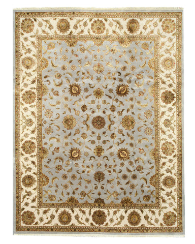 Hand-knotted Wool & Silk Blue Traditional Oriental Jaipur Rug (9'2 x 12')