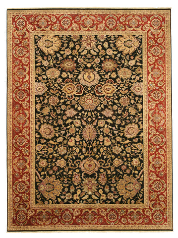 Hand-knotted Wool Black Traditional Oriental Jaipur Rug