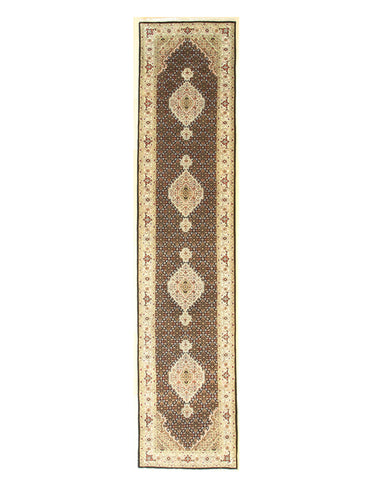 Black/red Hand-knotted Wool Traditional Mahi Tabriz Rug