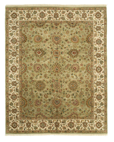 Hand-knotted Wool Green Traditional Oriental Jaipur Rug (8'1 x 10'2)