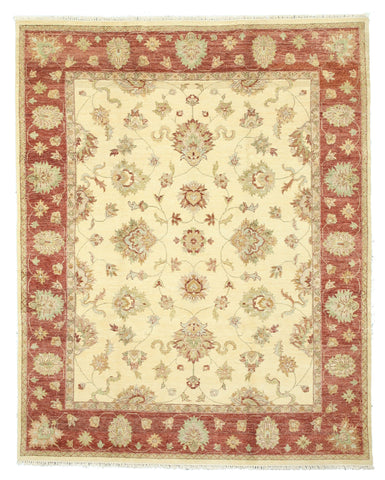 Hand-knotted Wool Ivory Traditional Oriental Agra Rug (8' x 10'1)