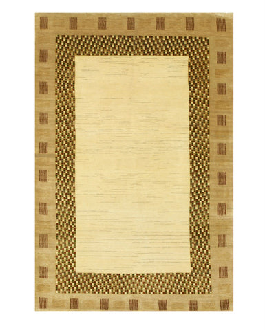 Hand-knotted Wool Ivory Traditional Solid Lori Baft Gabbeh Rug (3'11 x 5'10)