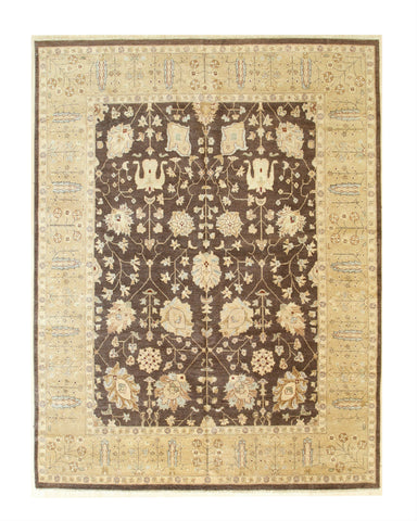 Brown/gold Hand-knotted Wool Traditional Agra Rug