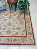 Ivory Hand-knotted Wool Traditional Agra Rug